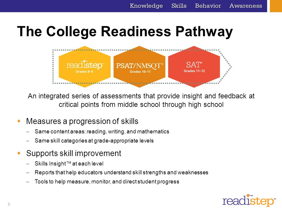 6 The College Readiness Pathway Measures a progression of skills –Same content areas: reading, writing, and mathematics –Same skill categories at grad