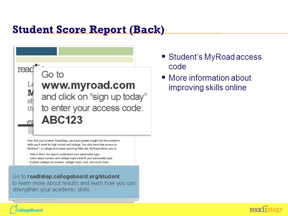 Student Score Report (Back) Students MyRoad access code More information about improving skills online