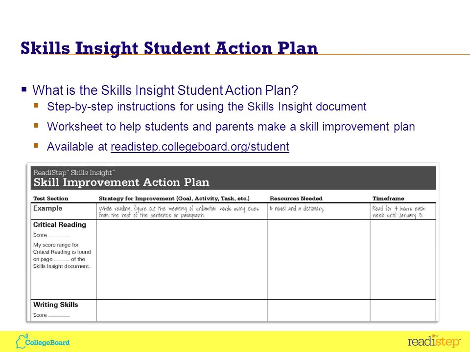 Skills Insight Student Action Plan What is the Skills Insight Student Action Plan.