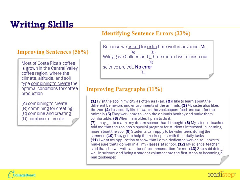SOAS: Skills Analysis Provided for each test section (Critical Reading, Writing Skills, and Mathematics) Lists skill and average number of questions correct for that skill Lists all questions measuring that skill and percentage of students answering correctly