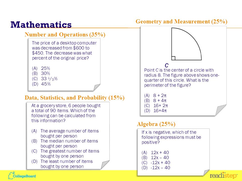 Mathematics 9 Number and Operations (35%) The price of a desktop computer was decreased from $600 to $450.