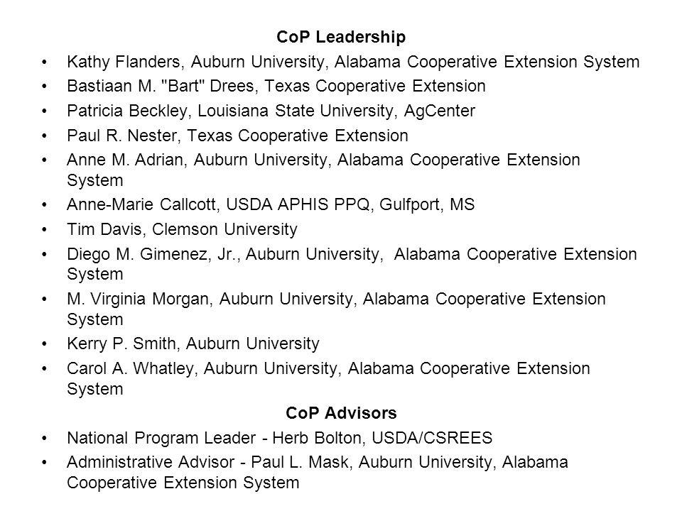 CoP Leadership Kathy Flanders, Auburn University, Alabama Cooperative Extension System Bastiaan M.