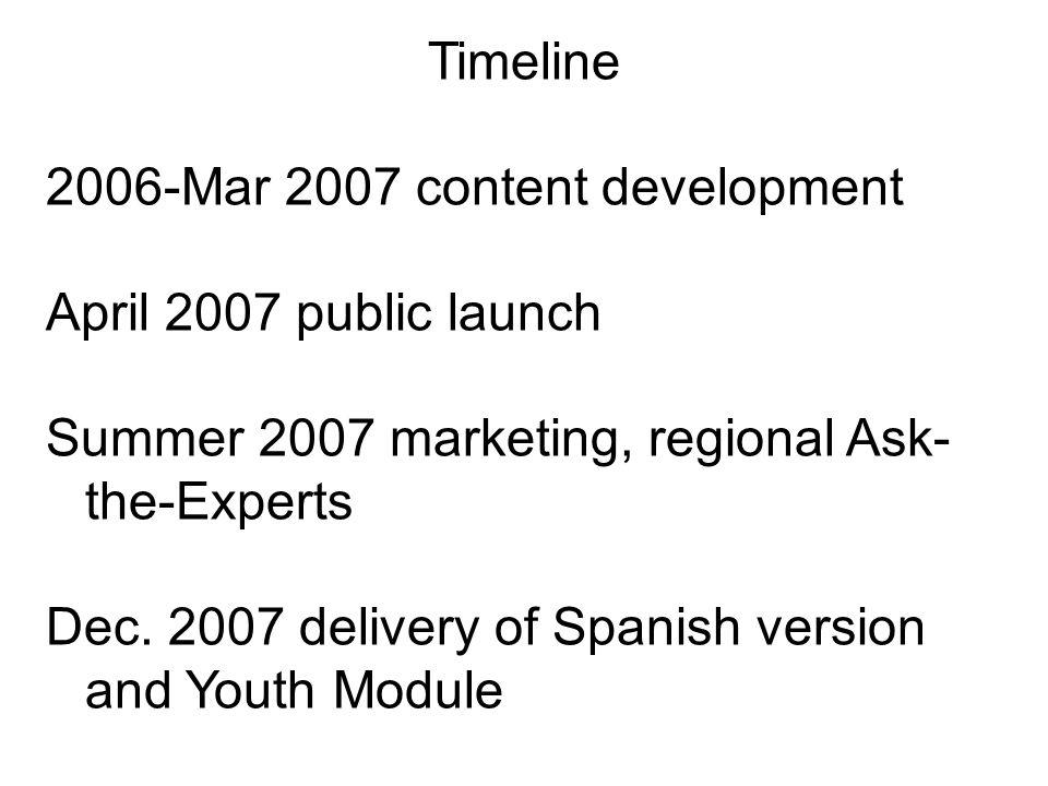 Timeline 2006-Mar 2007 content development April 2007 public launch Summer 2007 marketing, regional Ask- the-Experts Dec.