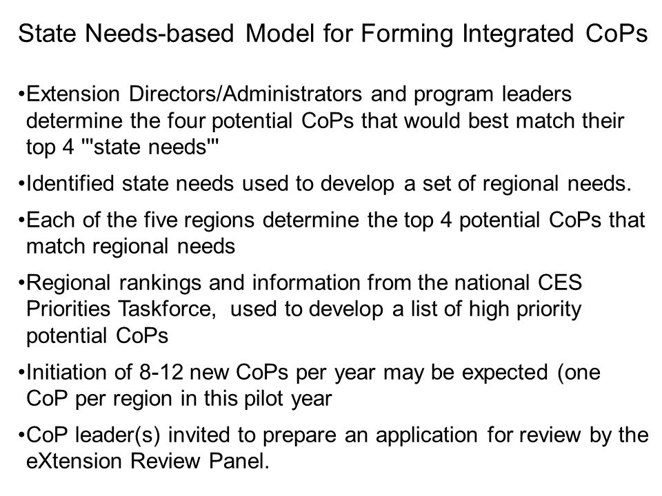 State Needs-based Model for Forming Integrated CoPs Extension Directors/Administrators and program leaders determine the four potential CoPs that woul