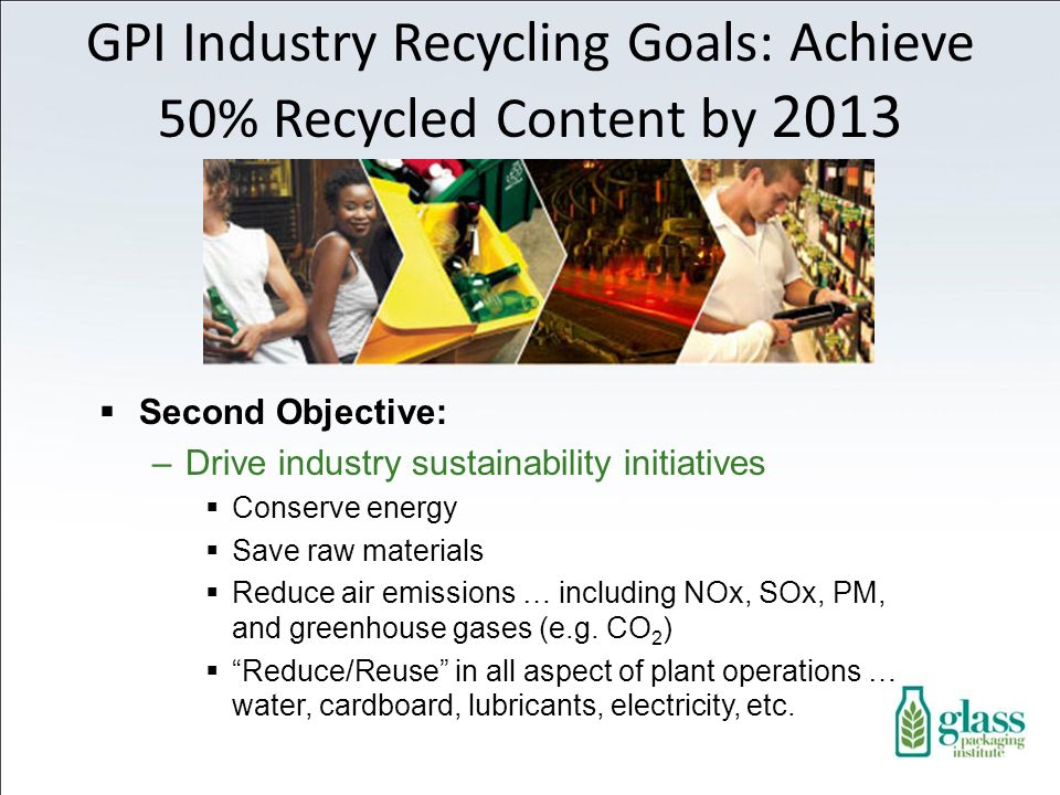 Second Objective: –Drive industry sustainability initiatives Conserve energy Save raw materials Reduce air emissions … including NOx, SOx, PM, and greenhouse gases (e.g.