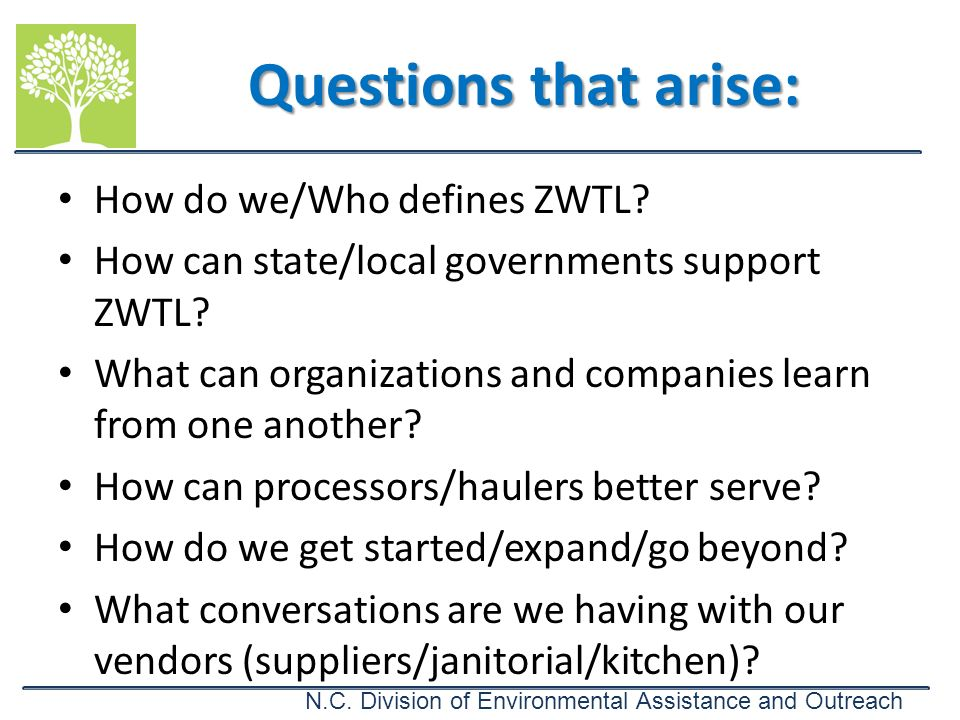 N.C. Division of Environmental Assistance and Outreach How do we/Who defines ZWTL? How can state/local governments support ZWTL? What can organization