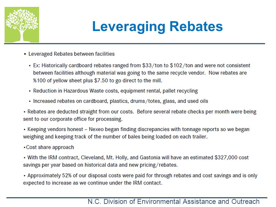 N.C. Division of Environmental Assistance and Outreach Leveraging Rebates