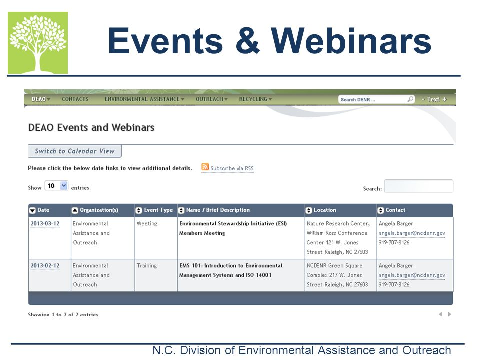 N.C. Division of Environmental Assistance and Outreach Events & Webinars