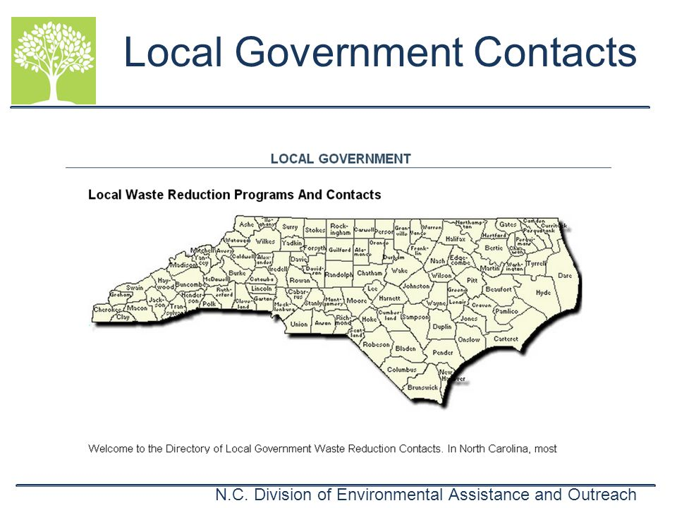 N.C. Division of Environmental Assistance and Outreach Local Government Contacts