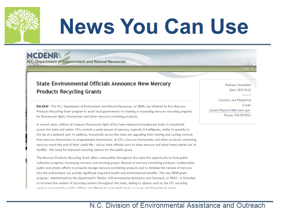 N.C. Division of Environmental Assistance and Outreach News You Can Use