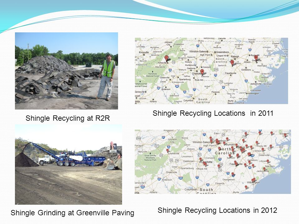 Shingle Recycling Locations in 2011 Shingle Recycling Locations in 2012 Shingle Recycling at R2R Shingle Grinding at Greenville Paving