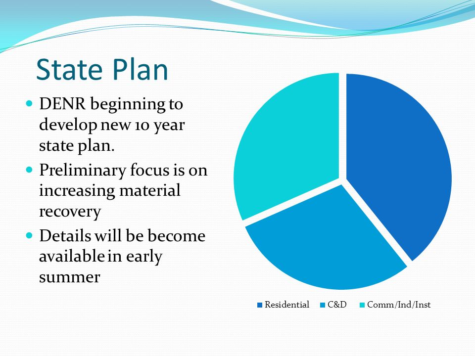 State Plan DENR beginning to develop new 10 year state plan.