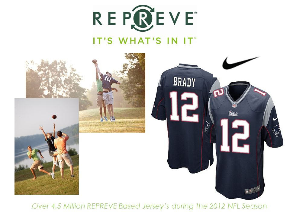 Over 4.5 Million REPREVE Based Jerseys during the 2012 NFL Season