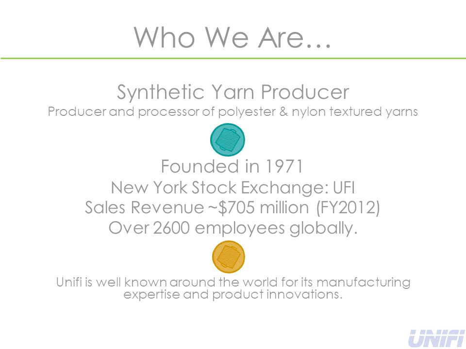 Who We Are… Synthetic Yarn Producer Producer and processor of polyester & nylon textured yarns Founded in 1971 New York Stock Exchange: UFI Sales Revenue ~$705 million (FY2012) Over 2600 employees globally.