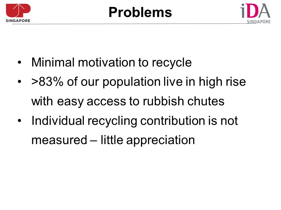 Minimal motivation to recycle >83% of our population live in high rise with easy access to rubbish chutes Individual recycling contribution is not measured – little appreciation Problems