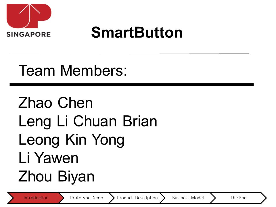 Team Members: Zhao Chen Leng Li Chuan Brian Leong Kin Yong Li Yawen Zhou Biyan IntroductionPrototype DemoProduct DescriptionBusiness ModelThe End