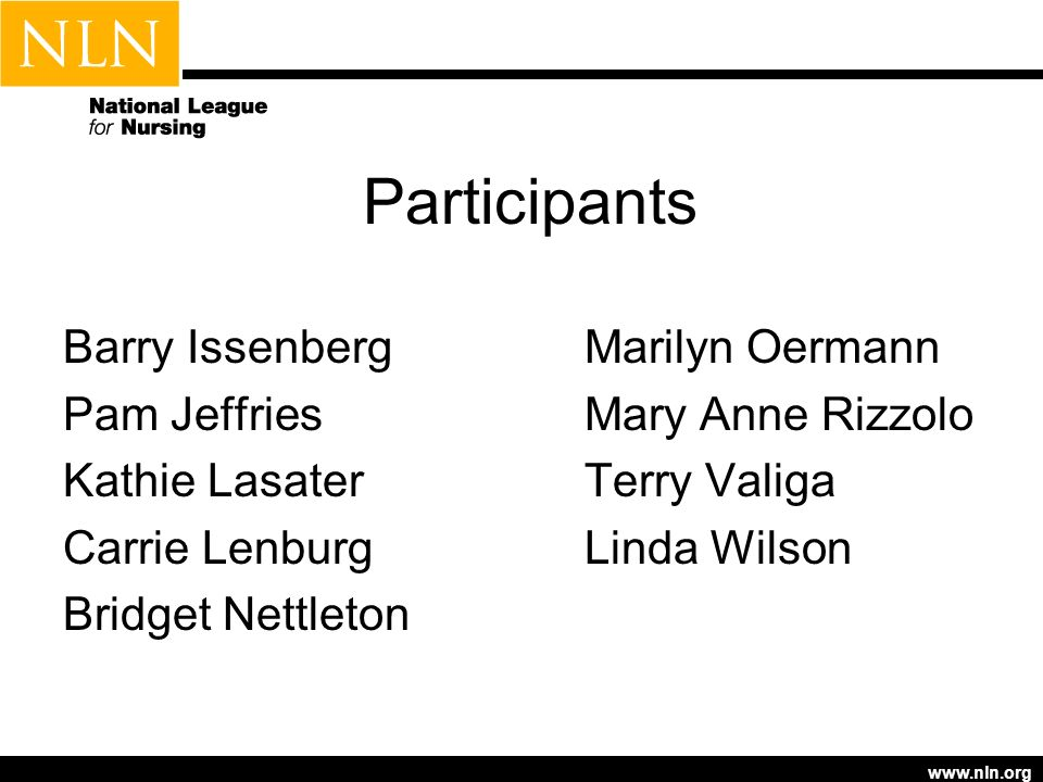 www.nln.org Participants Barry IssenbergMarilyn Oermann Pam JeffriesMary Anne Rizzolo Kathie LasaterTerry Valiga Carrie LenburgLinda Wilson Bridget Nettleton