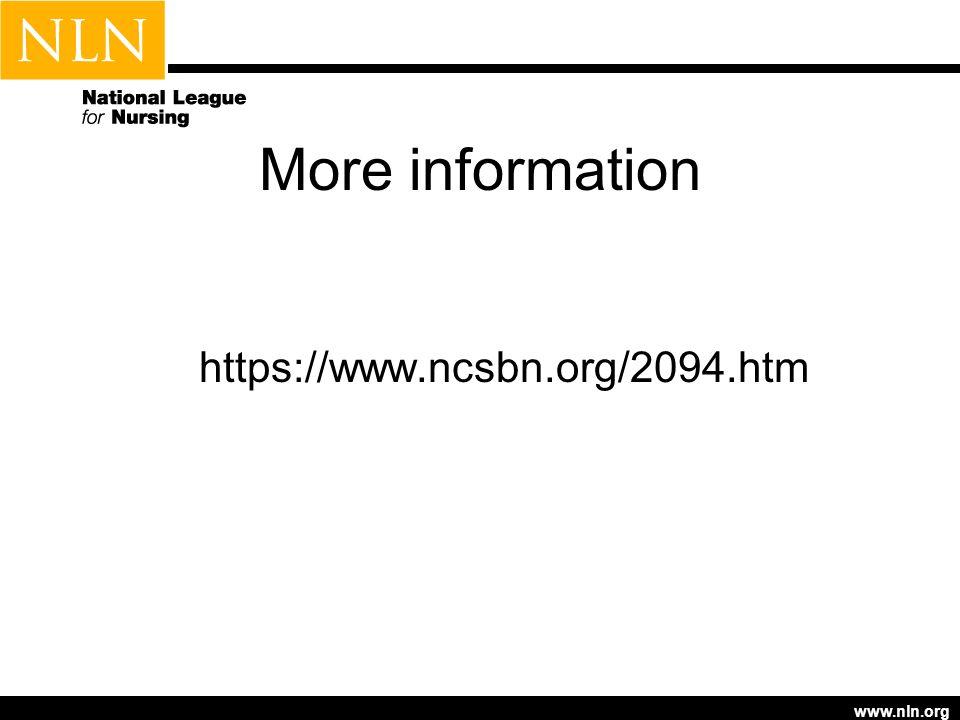 www.nln.org More information https://www.ncsbn.org/2094.htm