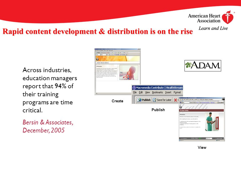 Rapid content development & distribution is on the rise Across industries, education managers report that 94% of their training programs are time critical.