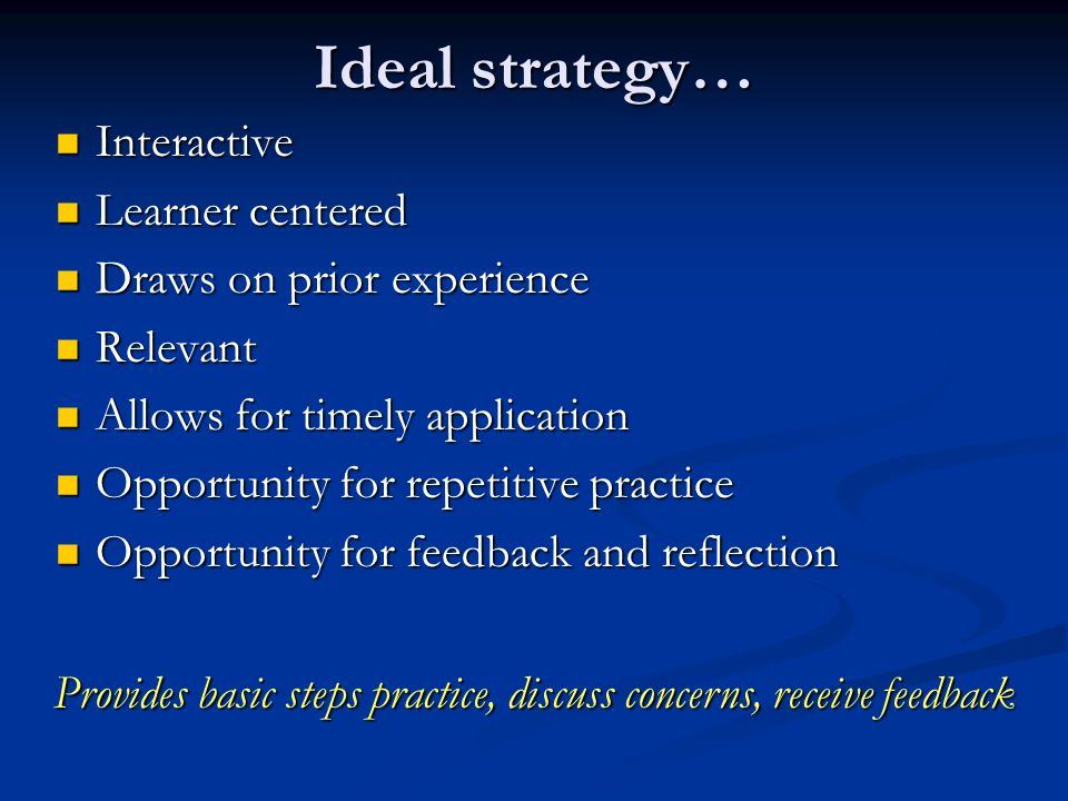 Ideal strategy… Interactive Interactive Learner centered Learner centered Draws on prior experience Draws on prior experience Relevant Relevant Allows for timely application Allows for timely application Opportunity for repetitive practice Opportunity for repetitive practice Opportunity for feedback and reflection Opportunity for feedback and reflection Provides basic steps practice, discuss concerns, receive feedback