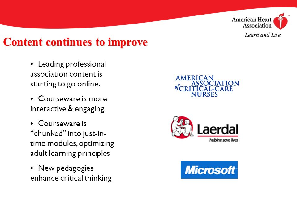 Content continues to improve Leading professional association content is starting to go online.