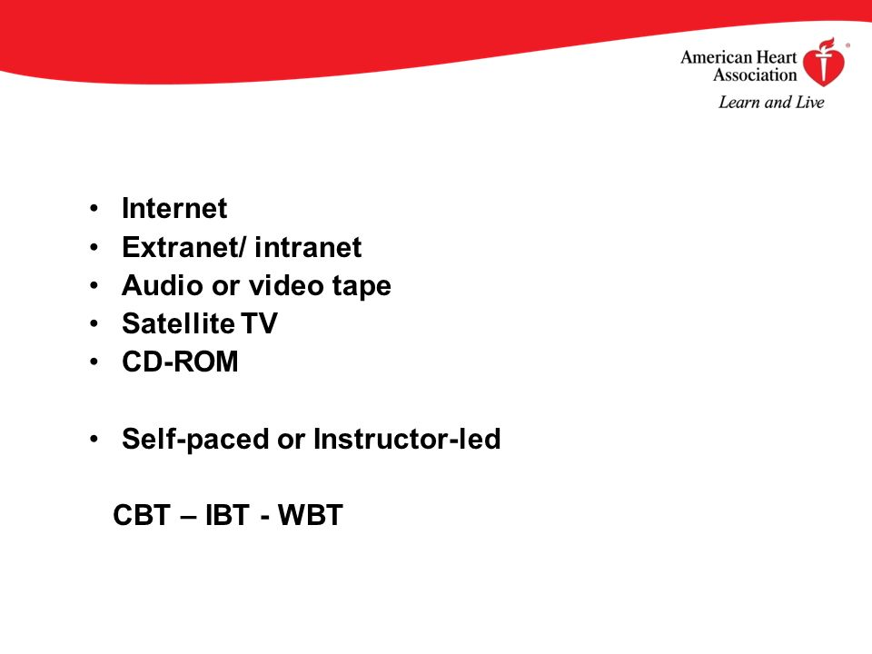 Internet Extranet/ intranet Audio or video tape Satellite TV CD-ROM Self-paced or Instructor-led CBT – IBT - WBT