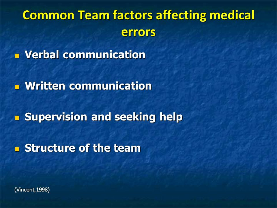 Common Team factors affecting medical errors Verbal communication Verbal communication Written communication Written communication Supervision and see