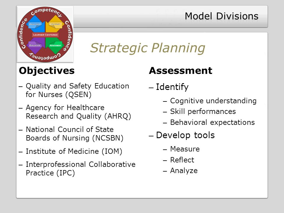 Objectives – Quality and Safety Education for Nurses (QSEN) – Agency for Healthcare Research and Quality (AHRQ) – National Council of State Boards of Nursing (NCSBN) – Institute of Medicine (IOM) – Interprofessional Collaborative Practice (IPC) Assessment – Identify – Cognitive understanding – Skill performances – Behavioral expectations – Develop tools – Measure – Reflect – Analyze Strategic Planning