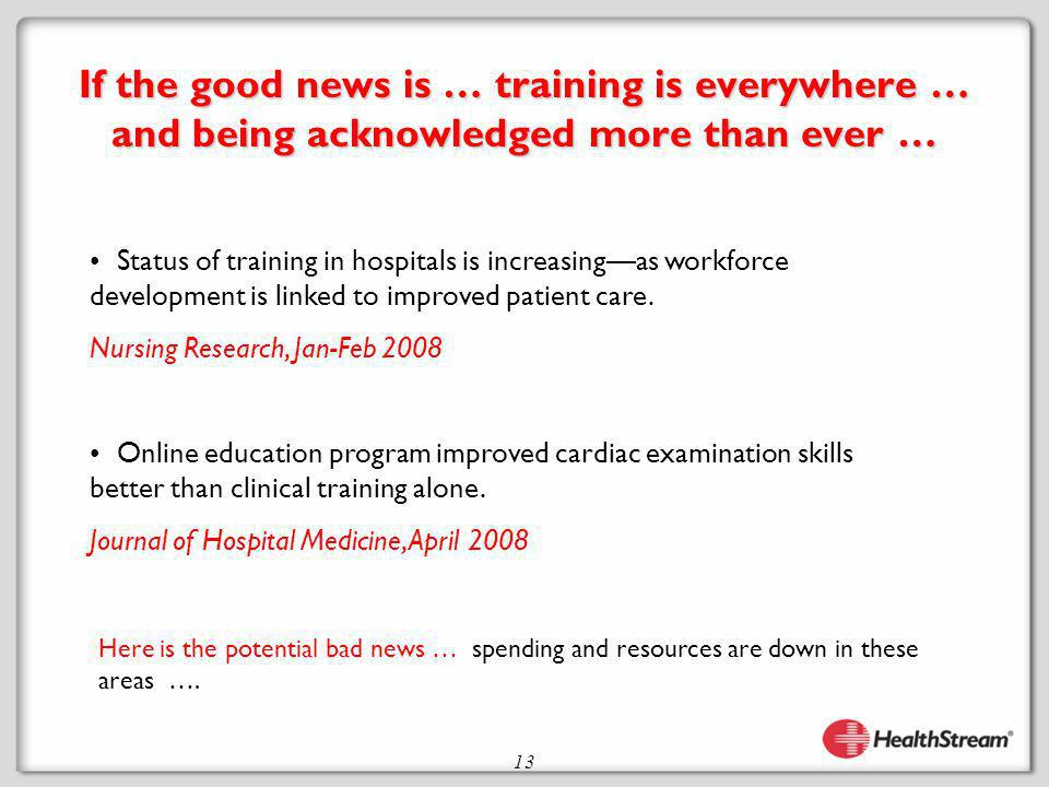 13 If the good news is … training is everywhere … and being acknowledged more than ever … Status of training in hospitals is increasingas workforce development is linked to improved patient care.