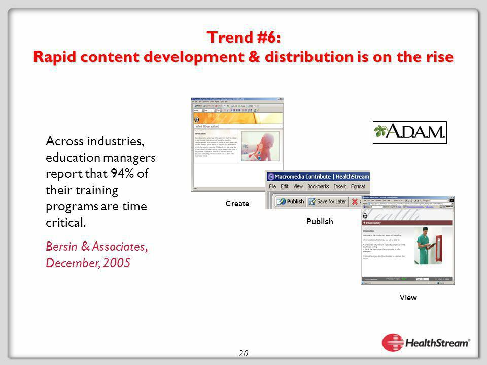 20 Trend #6: Rapid content development & distribution is on the rise Across industries, education managers report that 94% of their training programs are time critical.