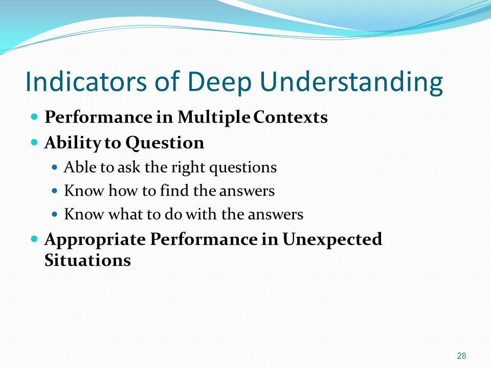 Indicators of Deep Understanding Performance in Multiple Contexts Ability to Question Able to ask the right questions Know how to find the answers Kno