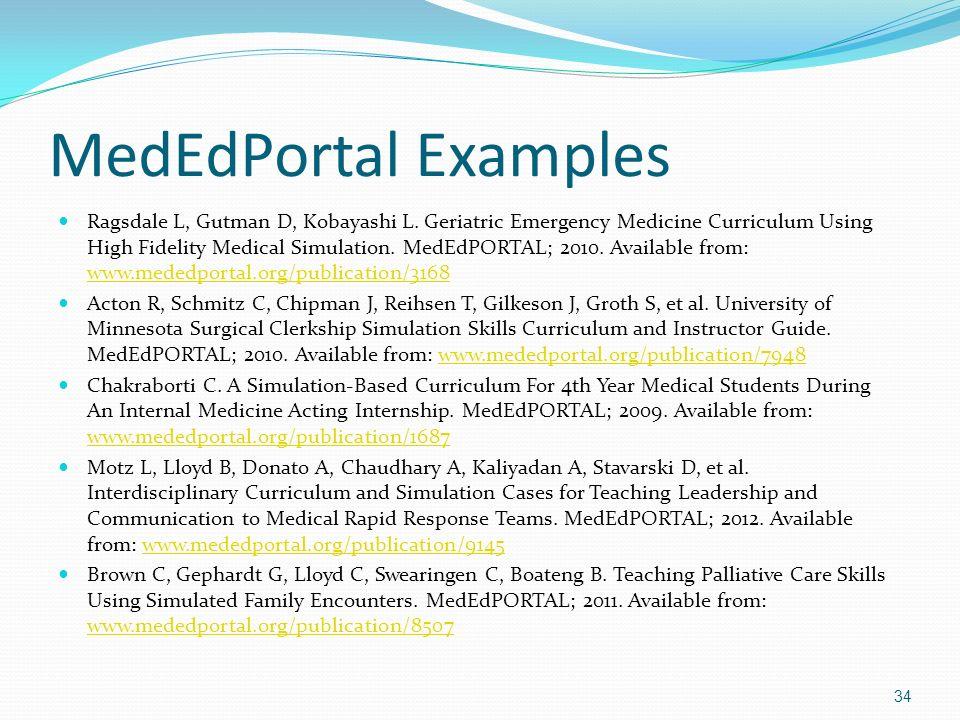 MedEdPortal Examples Ragsdale L, Gutman D, Kobayashi L. Geriatric Emergency Medicine Curriculum Using High Fidelity Medical Simulation. MedEdPORTAL; 2