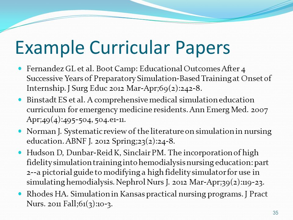 Example Curricular Papers Fernandez GL et al. Boot Camp: Educational Outcomes After 4 Successive Years of Preparatory Simulation-Based Training at Ons