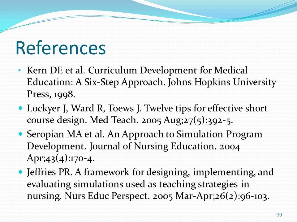 References Kern DE et al. Curriculum Development for Medical Education: A Six-Step Approach. Johns Hopkins University Press, 1998. Lockyer J, Ward R,