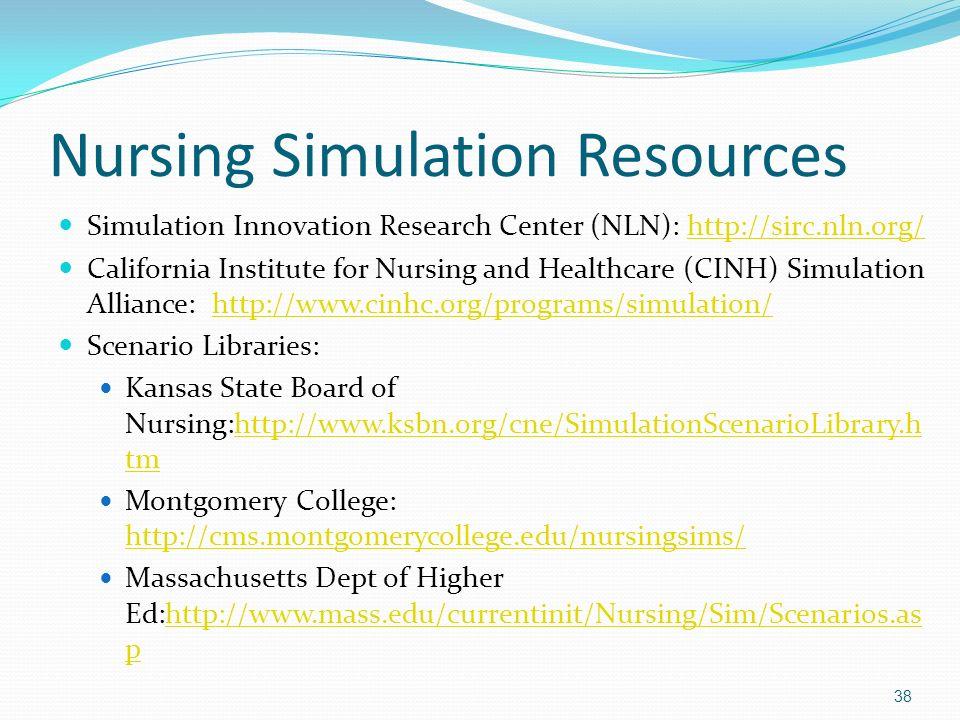 Nursing Simulation Resources Simulation Innovation Research Center (NLN): http://sirc.nln.org/http://sirc.nln.org/ California Institute for Nursing an