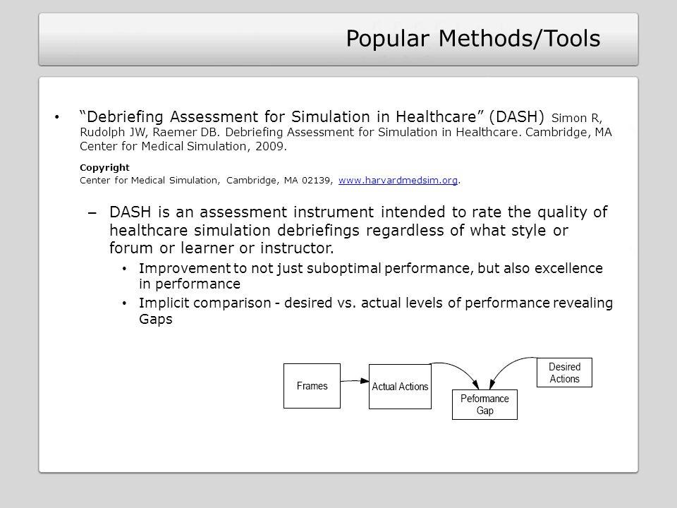 Debriefing Assessment for Simulation in Healthcare (DASH) Simon R, Rudolph JW, Raemer DB. Debriefing Assessment for Simulation in Healthcare. Cambridg