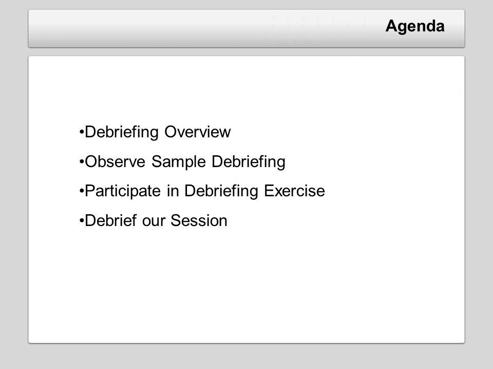 Agenda Debriefing Overview Observe Sample Debriefing Participate in Debriefing Exercise Debrief our Session
