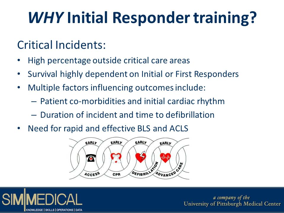 WHY Initial Responder training? Critical Incidents: High percentage outside critical care areas Survival highly dependent on Initial or First Responde