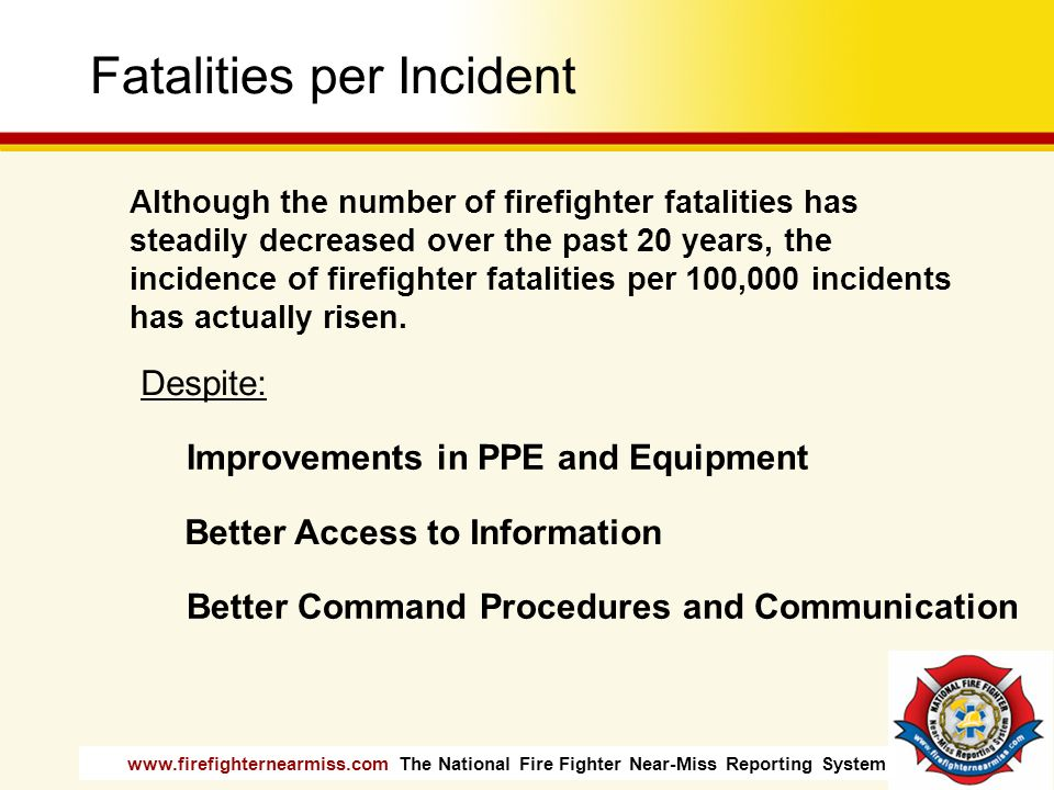www.firefighternearmiss.com The National Fire Fighter Near-Miss Reporting System Fatalities per Incident Although the number of firefighter fatalities