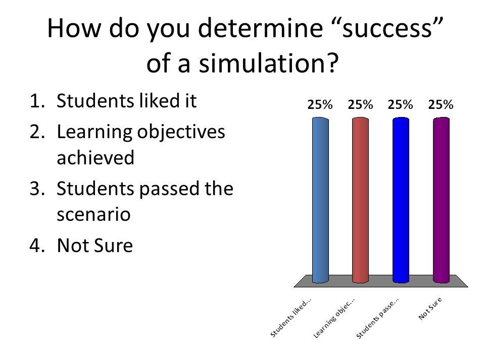 How do you determine success of a simulation.