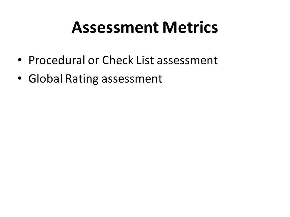 Assessment Metrics Procedural or Check List assessment Global Rating assessment