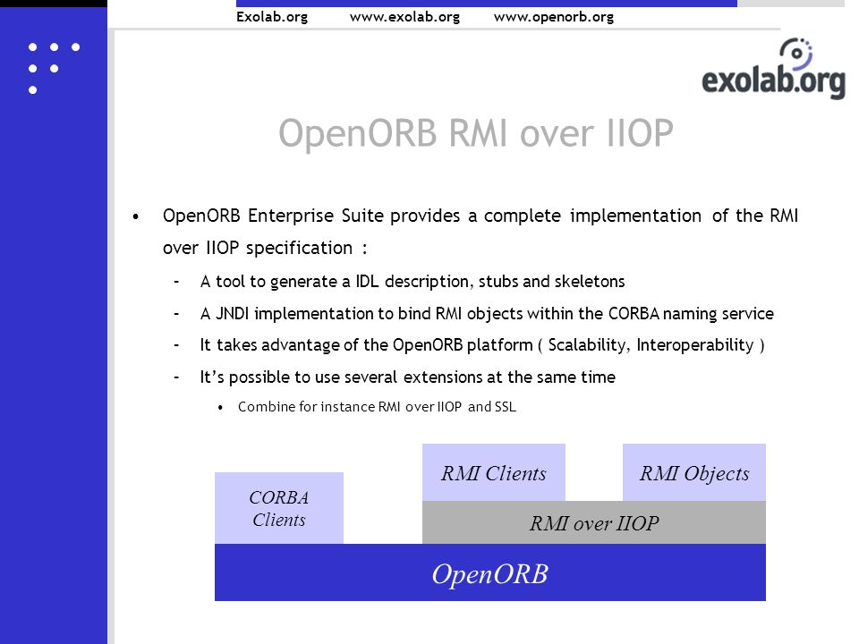 Exolab.org www.exolab.orgwww.openorb.org OpenORB RMI over IIOP OpenORB Enterprise Suite provides a complete implementation of the RMI over IIOP specification : –A tool to generate a IDL description, stubs and skeletons –A JNDI implementation to bind RMI objects within the CORBA naming service –It takes advantage of the OpenORB platform ( Scalability, Interoperability ) –Its possible to use several extensions at the same time Combine for instance RMI over IIOP and SSL OpenORB CORBA Clients RMI over IIOP RMI ClientsRMI Objects