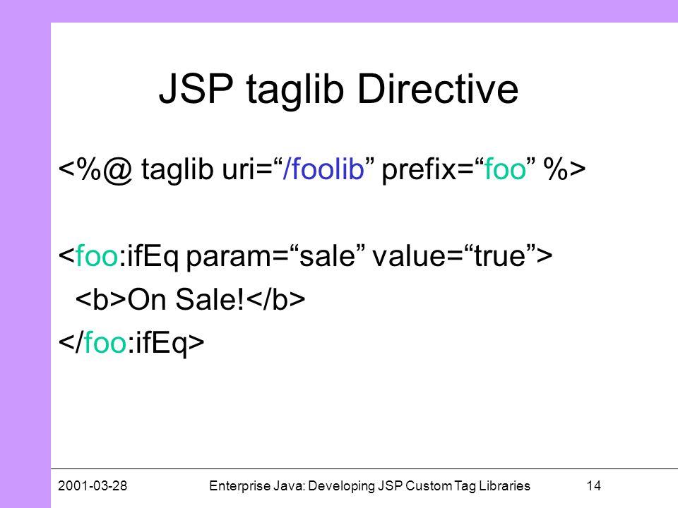 142001-03-28Enterprise Java: Developing JSP Custom Tag Libraries JSP taglib Directive On Sale!