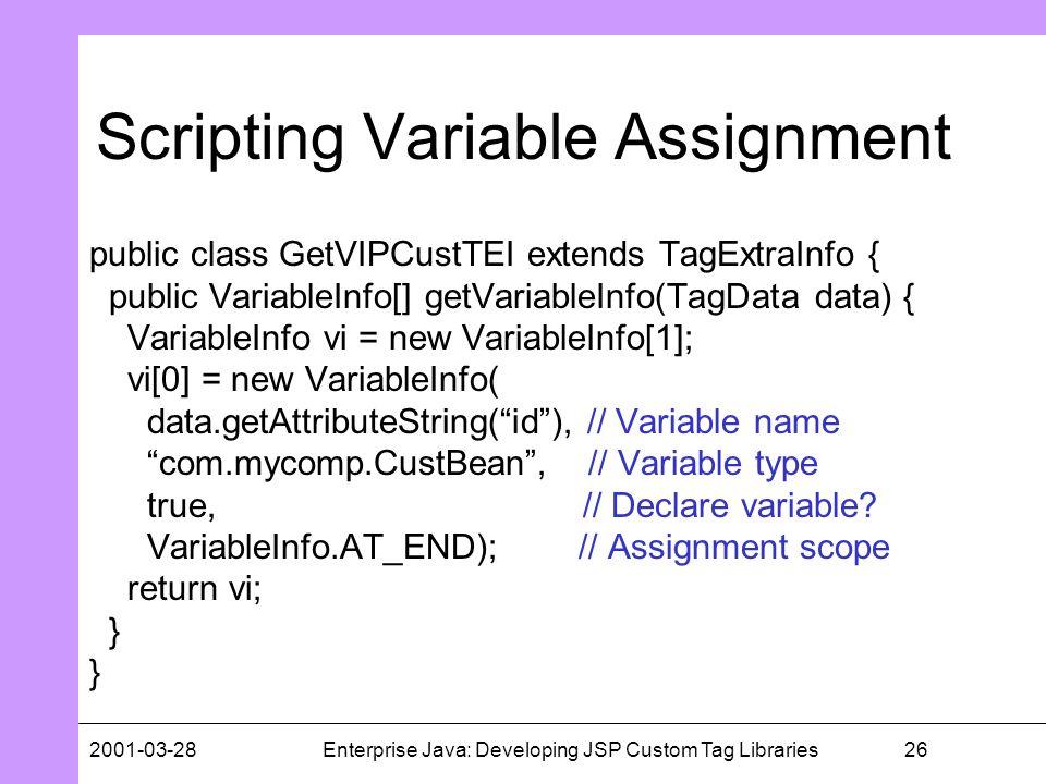 262001-03-28Enterprise Java: Developing JSP Custom Tag Libraries Scripting Variable Assignment public class GetVIPCustTEI extends TagExtraInfo { publi