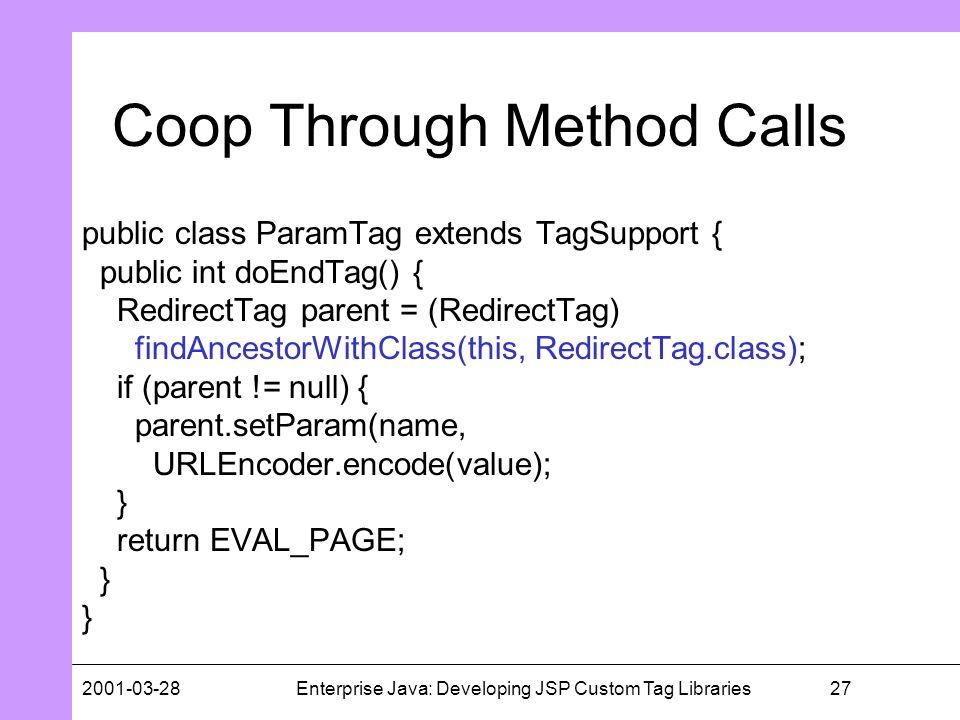272001-03-28Enterprise Java: Developing JSP Custom Tag Libraries Coop Through Method Calls public class ParamTag extends TagSupport { public int doEnd