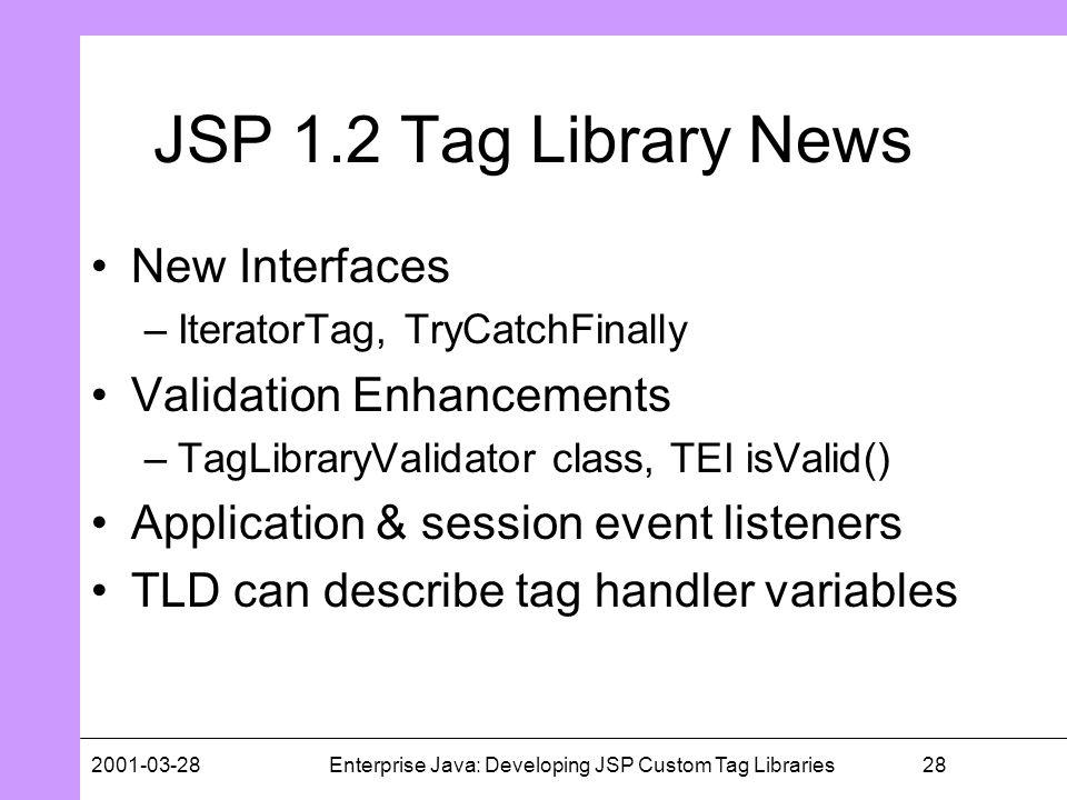 282001-03-28Enterprise Java: Developing JSP Custom Tag Libraries JSP 1.2 Tag Library News New Interfaces –IteratorTag, TryCatchFinally Validation Enha