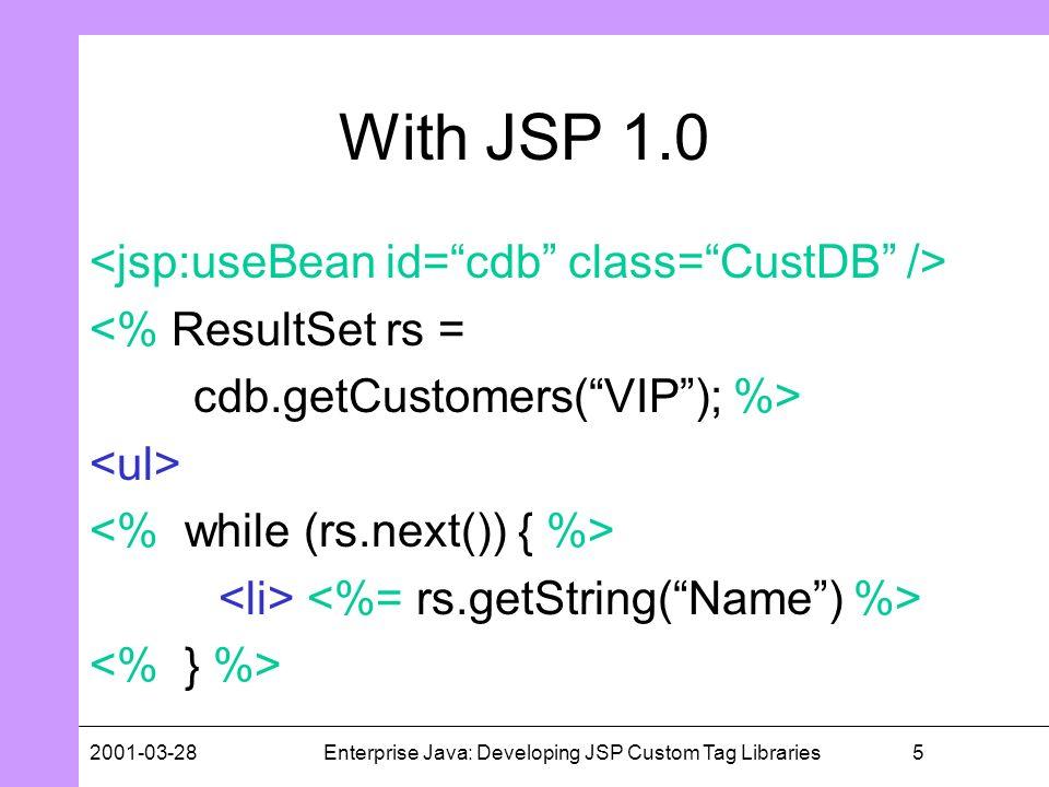 52001-03-28Enterprise Java: Developing JSP Custom Tag Libraries With JSP 1.0 <% ResultSet rs = cdb.getCustomers(VIP); %>