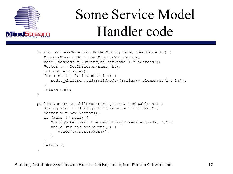 Building Distributed Systems with Brazil - Rob Englander, MindStream Software, Inc.18 public ProcessNode BuildNode(String name, Hashtable ht) { ProcessNode node = new ProcessNode(name); node._address = (String)ht.get(name + .address ); Vector v = GetChildren(name, ht); int cnt = v.size(); for (int i = 0; i < cnt; i++) { node._children.add(BuildNode((String)v.elementAt(i), ht)); } return node; } public Vector GetChildren(String name, Hashtable ht) { String kids = (String)ht.get(name + .children ); Vector v = new Vector(); if (kids != null) { StringTokenizer tk = new StringTokenizer(kids, , ); while (tk.hasMoreTokens()) { v.add(tk.nextToken()); } return v; } Some Service Model Handler code