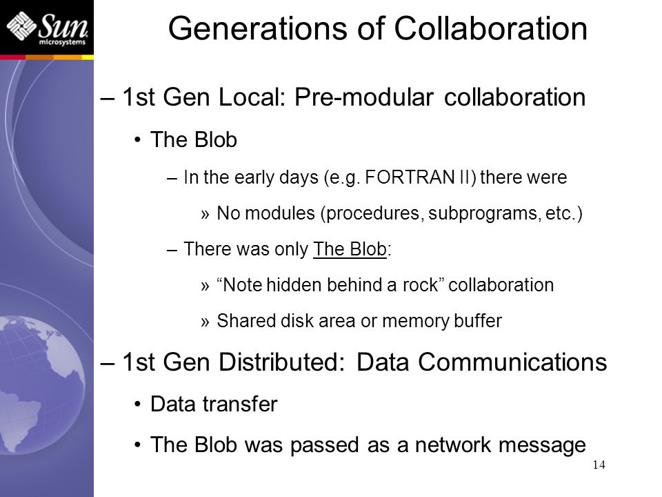 14 –1st Gen Local: Pre-modular collaboration The Blob –In the early days (e.g. FORTRAN II) there were »No modules (procedures, subprograms, etc.) –The