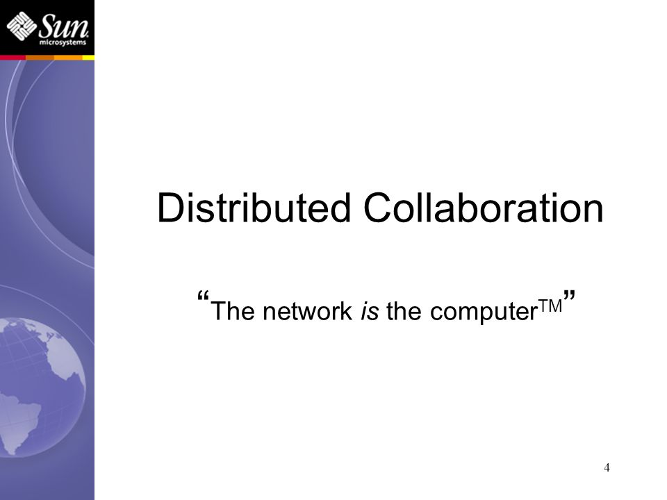 4 Distributed Collaboration The network is the computer TM